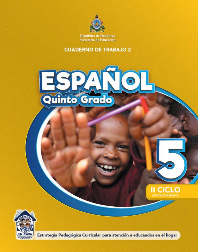 Cuaderno de Trabajo 2 Español para 5 Quinto Grado Honduras 2021