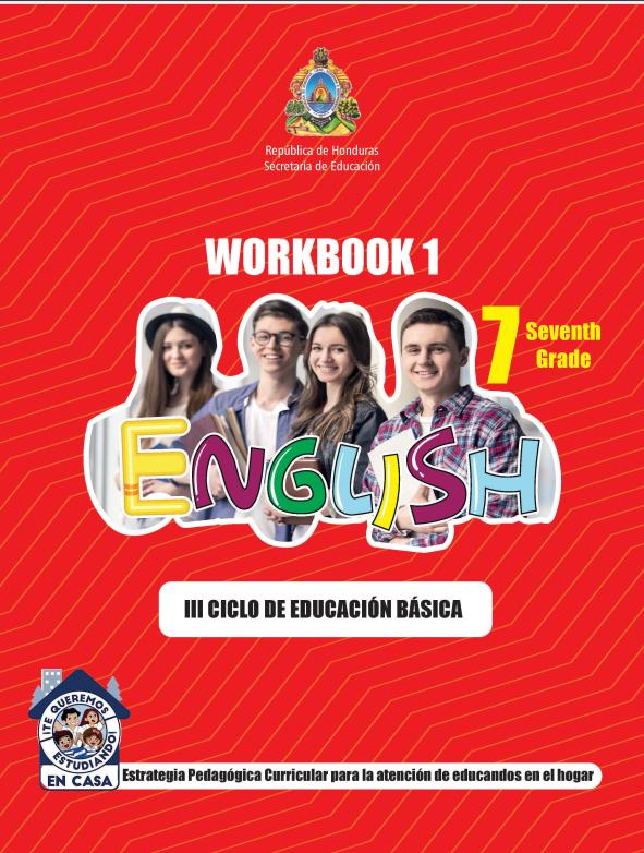 Cuaderno de Trabajo WorkBook 1 de Ingles 7 Septimo Grado Honduras 2021