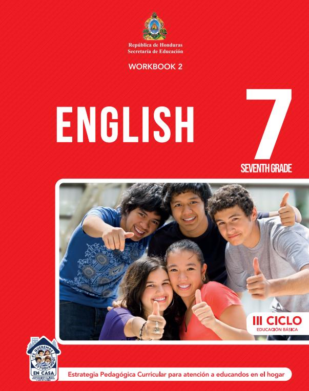 Cuaderno de Trabajo WorkBook 2 de Ingles 7 Septimo Grado Honduras 2021