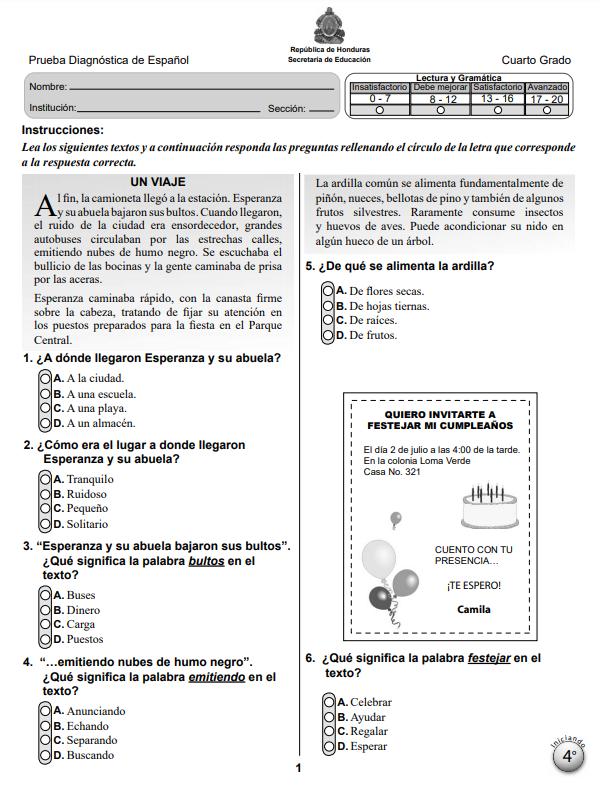 Prueba Diagnostica de Español 4 Cuarto Grado Honduras