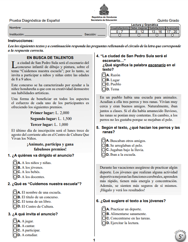 Prueba Diagnostica de Español 5 Quinto Grado Honduras