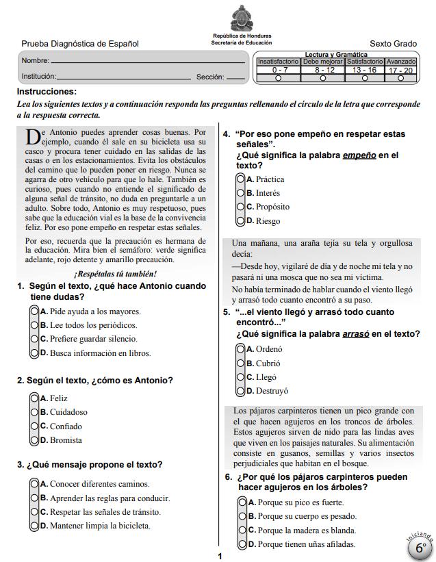 Prueba Diagnostica de Español 6 Sexto Grado Honduras