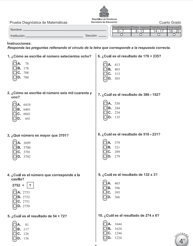 Prueba Diagnostica de Matematicas 4 Cuarto Grado Honduras