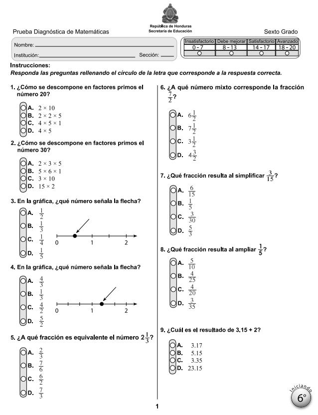 Prueba Diagnostica de Matematicas 6 Sexto Grado Honduras