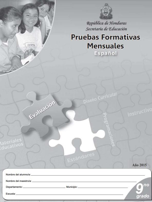 Pruebas Formativas Mensuales Español de Noveno 9 Grado Honduras
