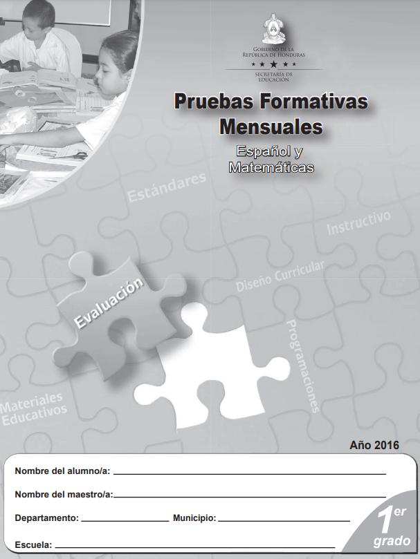 Pruebas Formativas Mensuales Español y Matematicas 1 Primer Grado