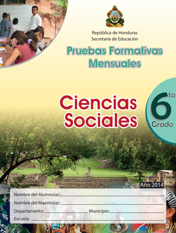 Pruebas Formativas Mensuales de Ciencias Sociales 6 Sexto Grado Honduras 2021
