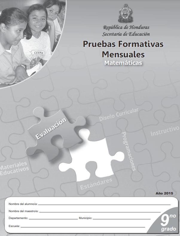 Pruebas Formativas Mensuales de Matematicas de Noveno 9 Grado Honduras
